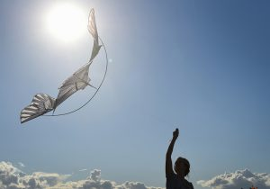A woman flies a kite during a kite festival at a park in Moscow on August 29, 2015. AFP PHOTO / DMITRY SEREBRYAKOV