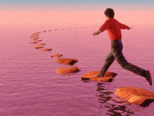01 Jan 2000 --- Stepping stones --- Image by © Bryan Allen/CORBIS